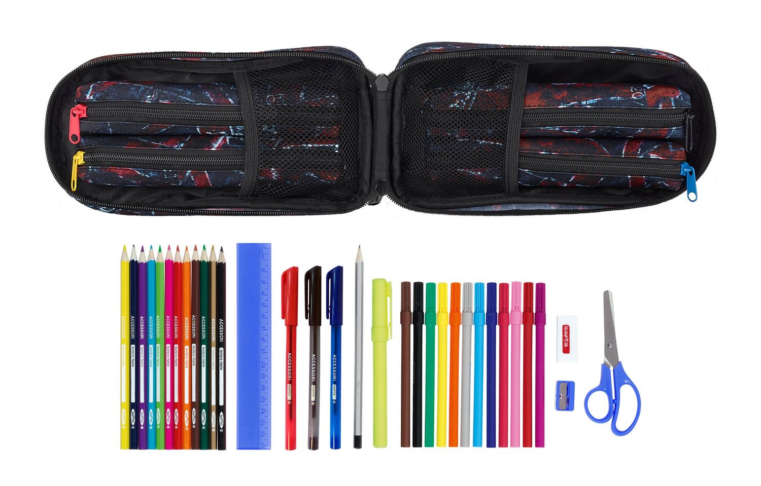 Pencil Case-Backpack with 4 filled Pencil Cases Blackfit8 FLAGS – image 2