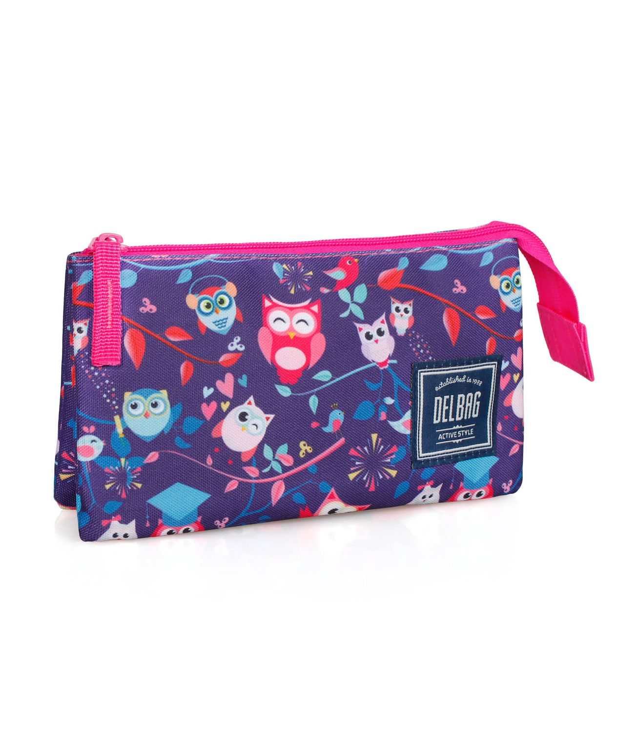 Pencil Case Triple Compartment PINK OWLS