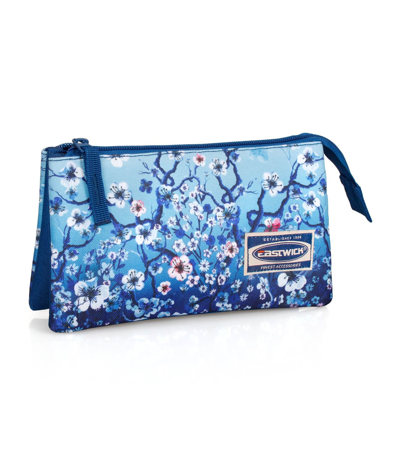 3 Compartment Pencil Case FLORAL Blue – image 1