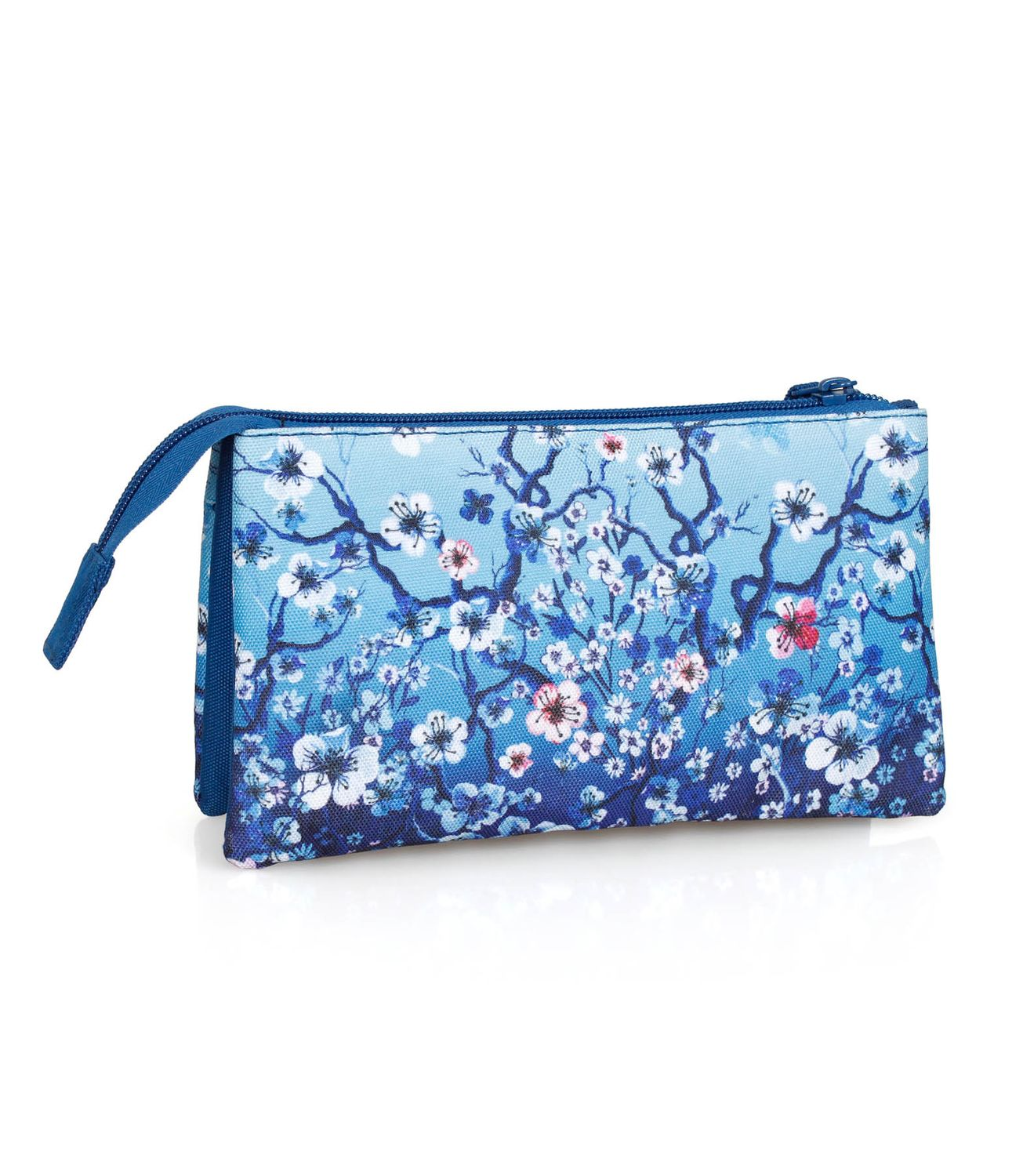 3 Compartment Pencil Case FLORAL Blue – image 2