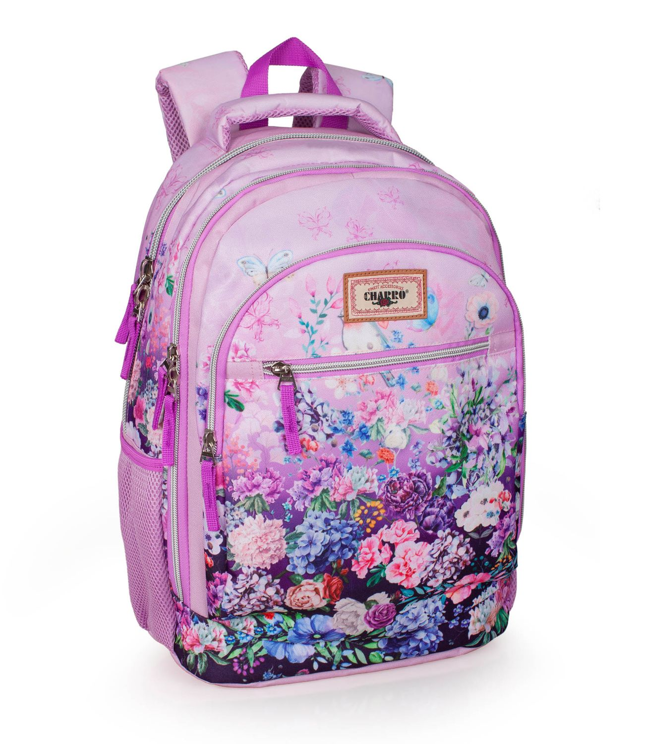 El Charro Triple Laptop Backpack Floral Pink