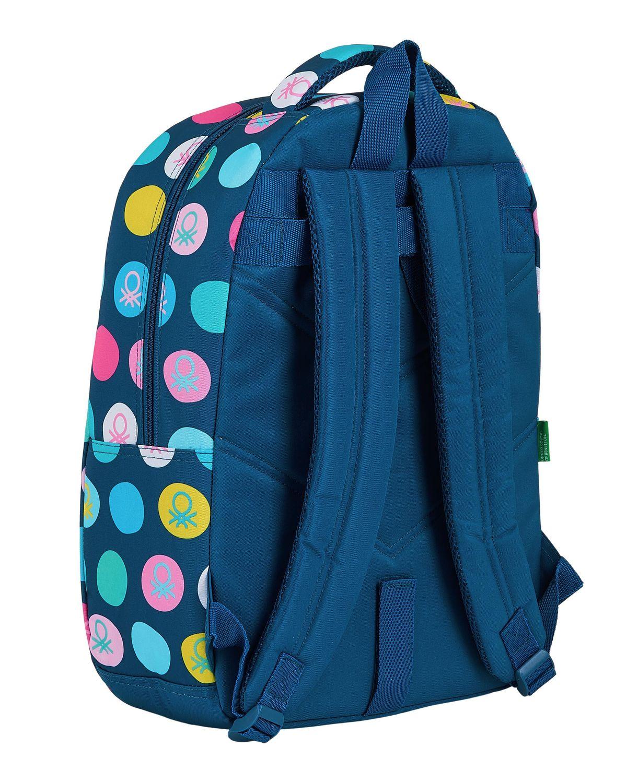 BENETTON NAVY BLUE POLKA DOTS Backpack Rucksack 44 cm – image 2