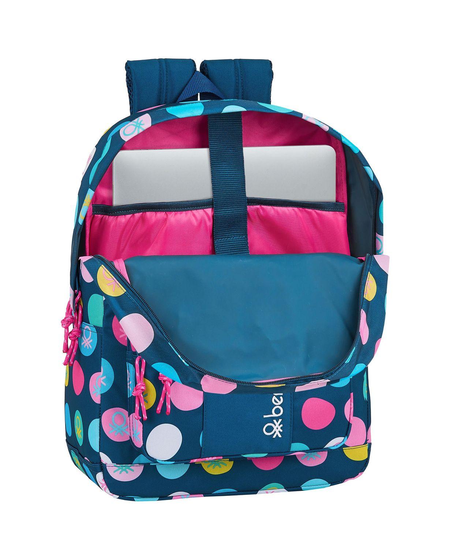 "BENETTON NAVY BLUE POLKA DOTS Laptop Backpack  15,6"" 43 cm – image 2"