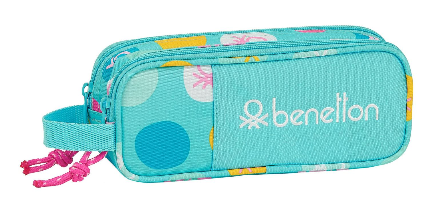 BENETTON TURQUOISE POLKA DOTS Double Pencil Case 21 cm – image 1