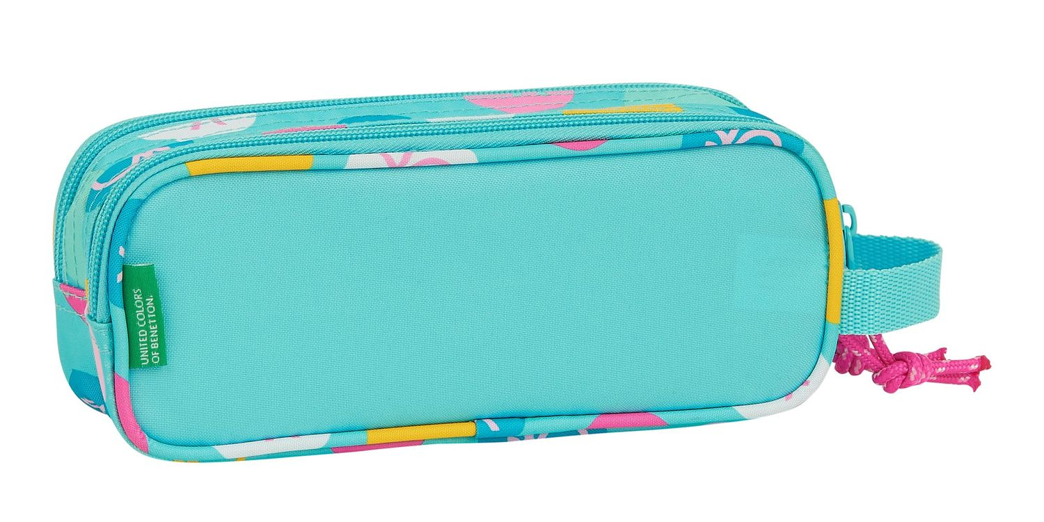 BENETTON TURQUOISE POLKA DOTS Double Pencil Case 21 cm – image 2
