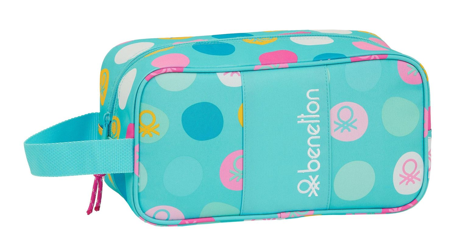 BENETTON Turquoise POLKA DOTS Shoe Bag 29 cm – image 1