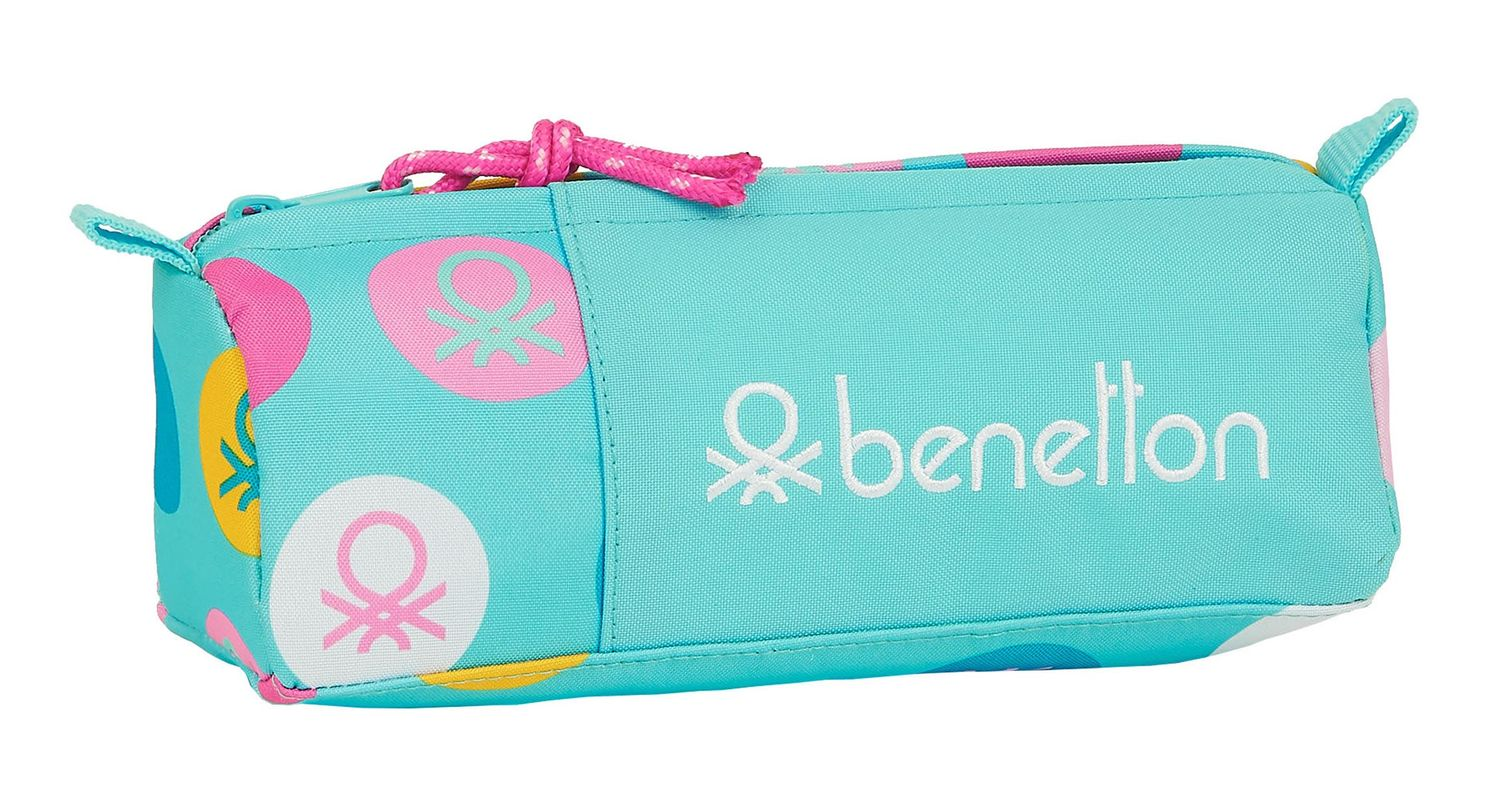 BENETTON Turquoise POLKA DOTS Square Pencil Case – image 1