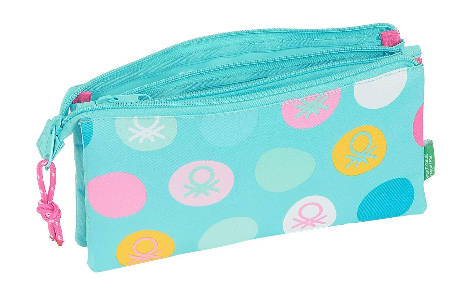 BENETTON TURQUOISE POLKA DOTS Triple Pencil Case – image 2