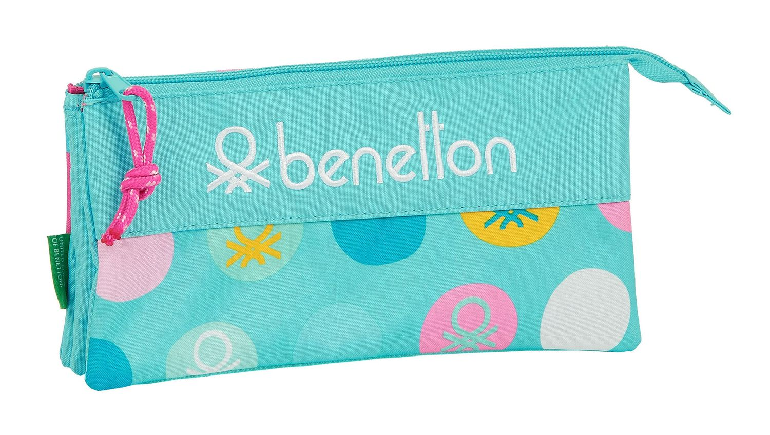 BENETTON TURQUOISE POLKA DOTS Triple Pencil Case – image 1