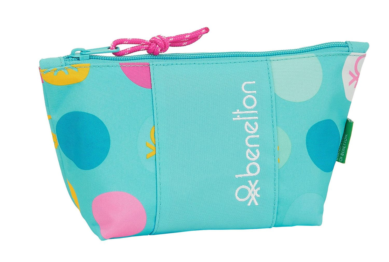 BENETTON Turquoise POLKA DOTS Make Up Toiletry Bag – image 1