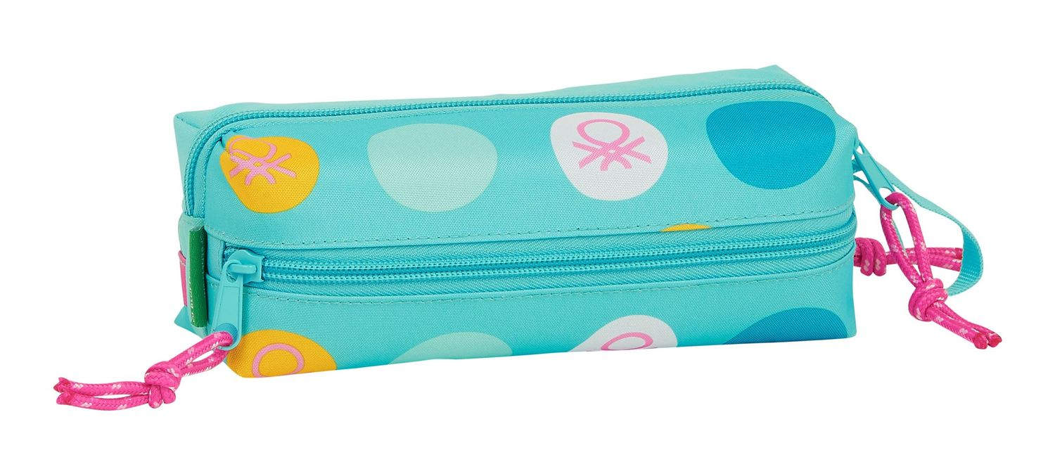 BENETTON Turquoise POLKA DOTS Pencil Case 3 Zip – image 2