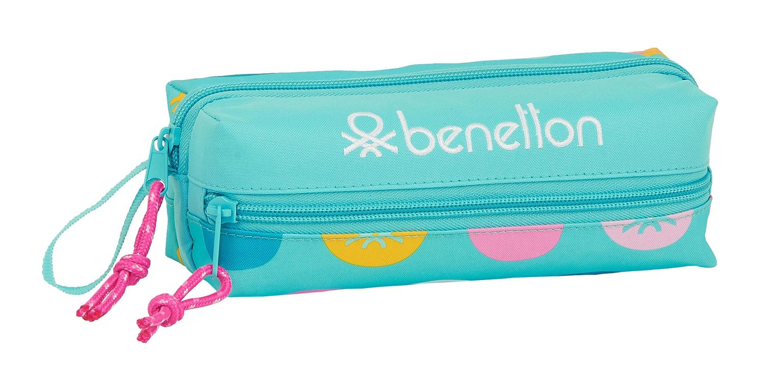 BENETTON Turquoise POLKA DOTS Pencil Case 3 Zip – image 1