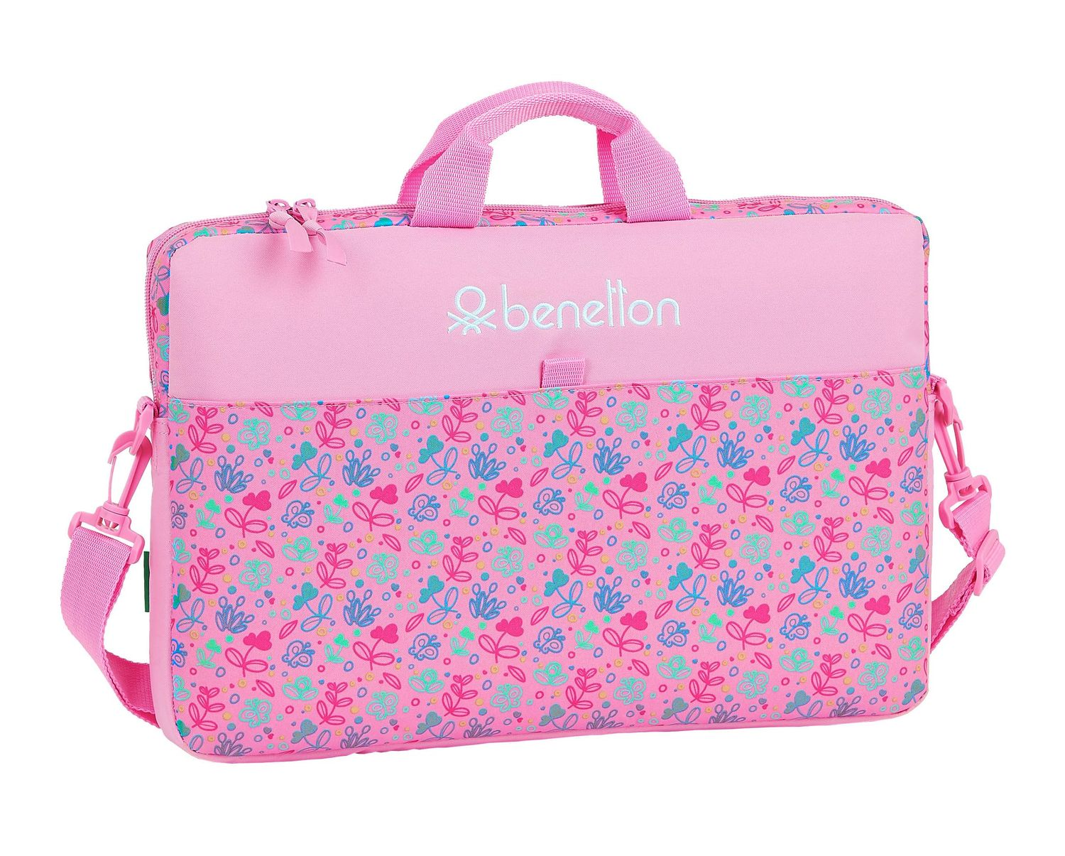 BENETTON Pink BUTTERFLIES Laptop Bag 15,6 Inches – image 1