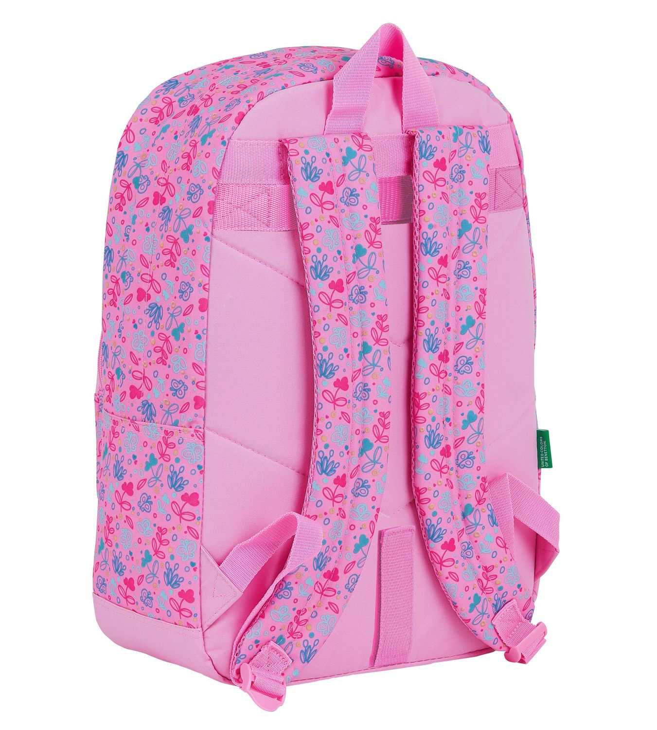 BENETTON Pink BUTTERFLIES Backpack Rucksack 43 cm – image 2