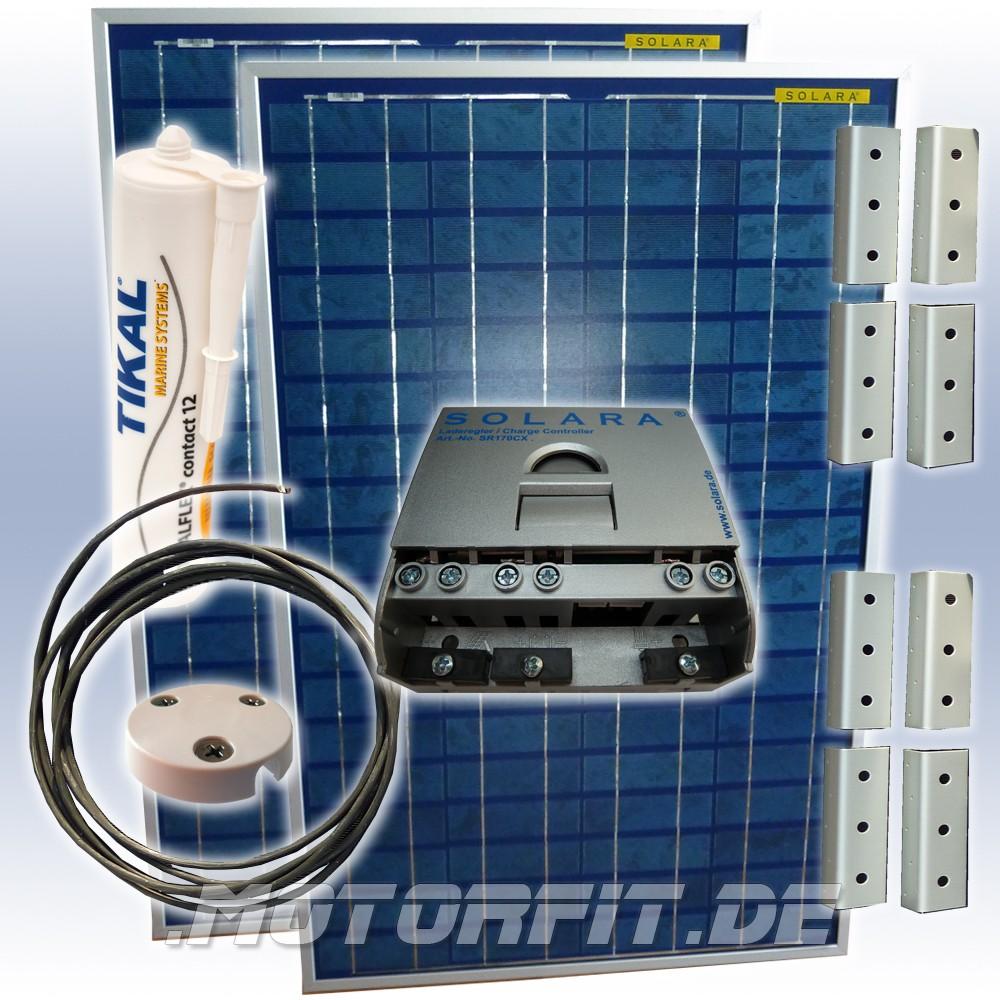 160w 12v solara solaranlage wohnwagen solar inselanlage. Black Bedroom Furniture Sets. Home Design Ideas