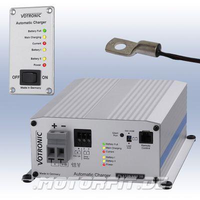 Votronic Batterie-Ladegerät Pb 1220 SMT 2B - 12V / Pb1220 - SPARSET komplett mit Tempfühler und Fernanzeige!