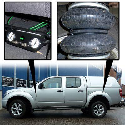 Luftfederung für Nissan Navara - D40 / D401 2004-2015 - Hinterachse - Basis-Kit Plus mit Manometer/Anzeige – Bild 1
