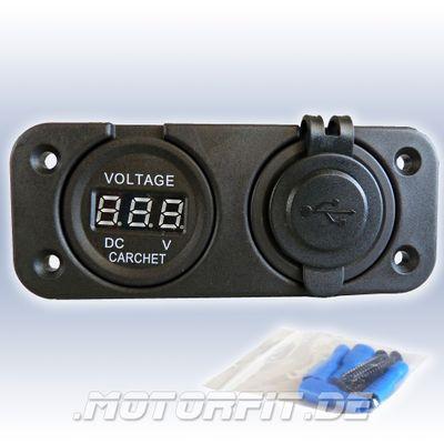 12V Dual USB Einbausteckdose mit Voltmeter Ladegerät 5V 1A 2.1A für Zigarettenanzünder Einbaubuchse – Bild 1