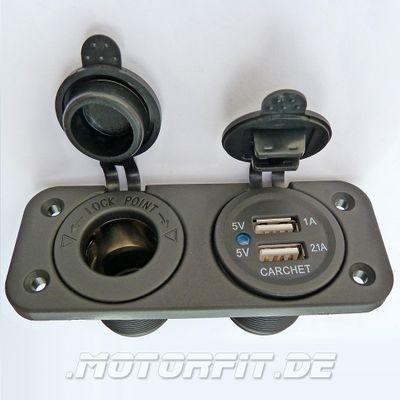 12V Dual USB Einbausteckdose Double Ladegerät 5V 1A 2.1A für Zigarettenanzünder Einbaubuchse Adapter – Bild 1