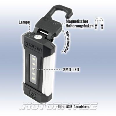 KUNZER AKKU SMD-LED Arbeitsleuchte / Handlampe Li-Ion Schwenkbar - Schwarz PL-051 PL051 – Bild 1