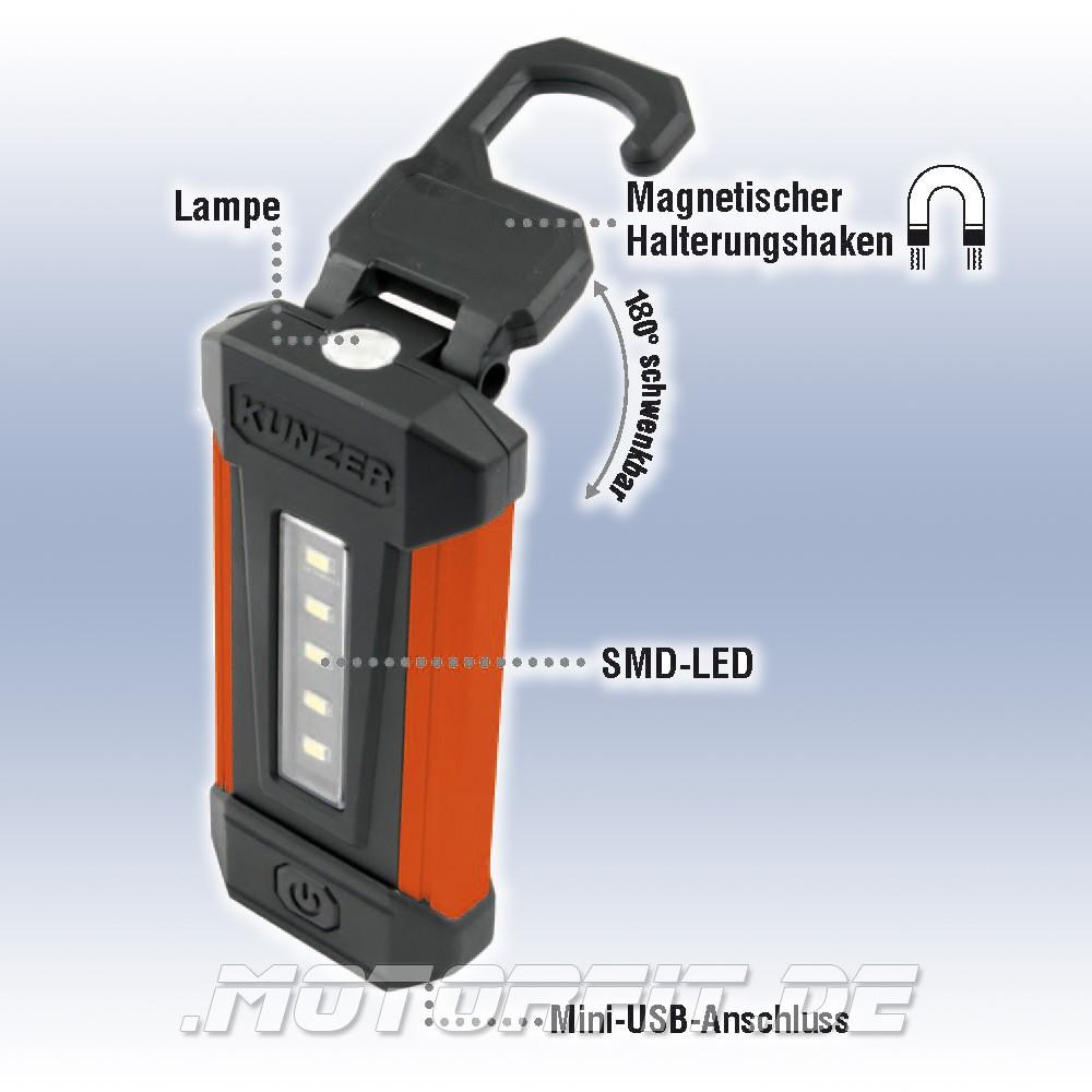 Kunzer Akku Smd Led Arbeitsleuchte Handlampe Li Ion Schwenkbar