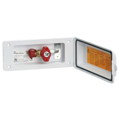 Versorgungsklappe Gas Außensteckdose für Gasgeräte Anschlussdose 160 x 70 mm Gassicherheitsventil