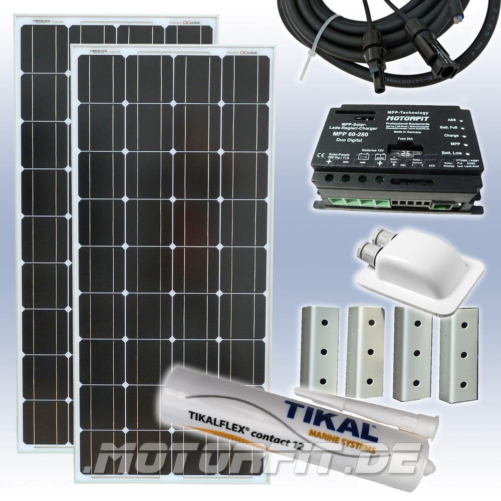 200w 12v solar spar set komplettset solaranlage 2 x 100 watt solar anlagen mobile solar sets. Black Bedroom Furniture Sets. Home Design Ideas