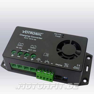 Votronic Lade-Wandler VCC 1212-30 - Set ohne / mit Fernbedienung LED LCD 12V/30A Ladebooster mit Temperaturfühler – Bild 1