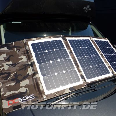 Faltbares Solarset SONDEREDITION Camouflage Army-Look DCsolar Power Move 110Wp 12V Falt- und Tragbar Beschattungssicher! VW California Ford Nugget Solarpanel – Bild 1