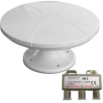 DVB-T/T-2 HD-Digitalantenne Maximum MDA-110 + SPLITTER SET LTE UFO Antenne Weiß flache Festmontage auf dem Dach DVB-T – Bild 1