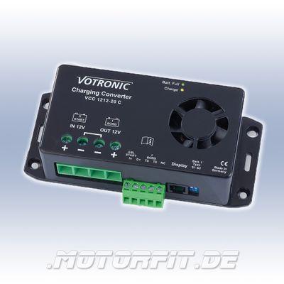 Votronic Lade-Wandler VCC 1212-20 C - 12V/20A / VCC1212-20 C Ladebooster Booster mit Temperaturfühler für Wohnwagen und Wohnkabinen ISO 11446