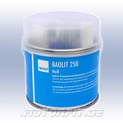 BAO BAOLIT 250 weiß 240g + Härter + Plastikspachtel - 2-Komponenten-Polyesterkitt