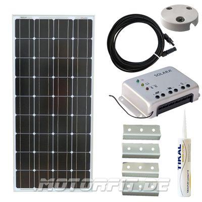 110W / 115W (12V) Solar Spar Set Solar speziell für Kastenfahrzeuge! KOMPLETTSET Solaranlage 110 Watt Haltewinkel – Bild 1