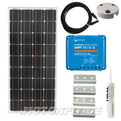 110W / 115W (12V) Solar Spar Set MPPT Solar speziell für Kastenfahrzeuge! KOMPLETTSET Solaranlage 110 Watt Haltewinkel – Bild 1