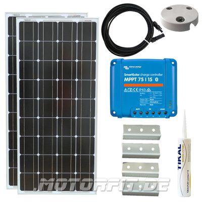 220W / 230W (12V) Solar Spar Set MPPT Solar speziell für Kastenfahrzeuge! KOMPLETTSET Solaranlage 220 Watt Haltewinkel – Bild 1