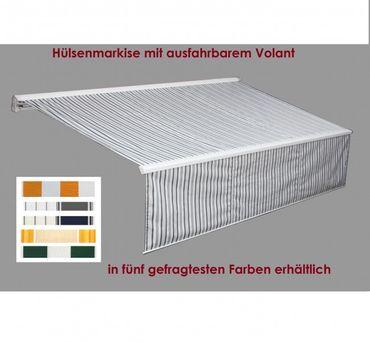 500 x 300 Hülsenmarkise PLUS Markise grau mit Funkmotor – Bild 1