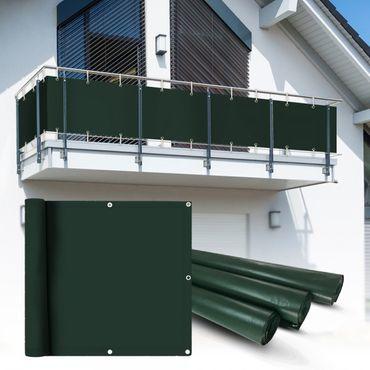 PVC Balkon Sichtschutz Sichtschutzfolie grün 6x0,9m – Bild 1