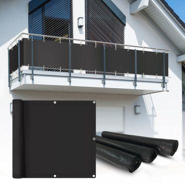 PVC Balkon Sichtschutz Sichtschutzfolie anthrazit 6x0,9m – Bild 1