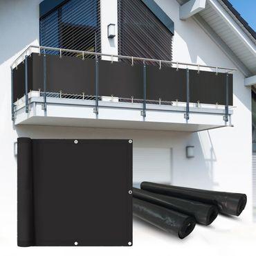 PVC Balkon Sichtschutz Sichtschutzfolie anthrazit 6x0,75m – Bild 1