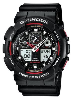 Casio G-Shock Herrenuhr ana-digi schwarz/rot GA-100-1A4ER – Bild 1