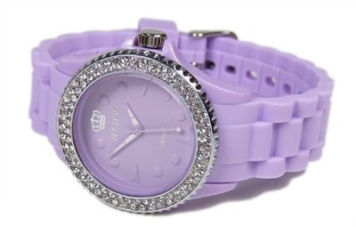 JET SET Addiction Soothing Purple Damen Armbanduhr mit Kristallen Silikonband J18934-08 – Bild 2