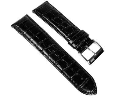 Hugo Boss Uhrenarmband Leder Band 24mm schwarz 1512358