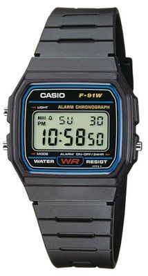 Casio Collection F-91W-1YEF | Kinderuhr Digital Armbanduhr Tagesalarm
