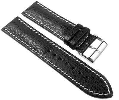 Minott Uhrenarmband 22mm | Haifischleder, schwarz mit Kontrastnaht