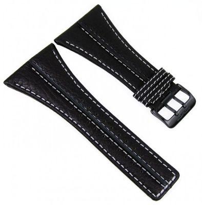 Police Ersatzband Uhrenarmband Leder schwarz/weiss 43mm 11397 P.11397 – Bild 1