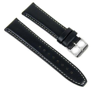 Abeler & Söhne Ersatzband Uhrenarmband Leder Band 22mm schwarz AS72320890 – Bild 1