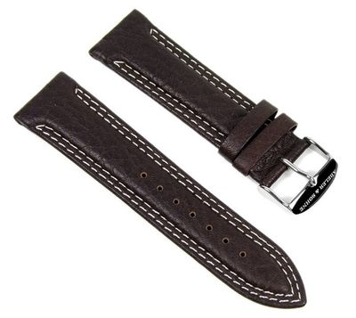 Abeler & Söhne Ersatzband Uhrenarmband Leder Band 24mm Dunkelbraun AS72335734 – Bild 1