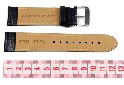 Abeler & Söhne Uhrenarmband Leder 22mm schwarz AS72333245 – Bild 2