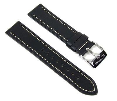 Festina Uhrenarmband 21mm | Leder schwarz heller Naht F16243/6 F16243