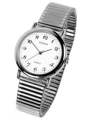 Adora ■ Armbanduhr Ø 34mm | silberfarbenes Zugband & Gehäuse | Unisex